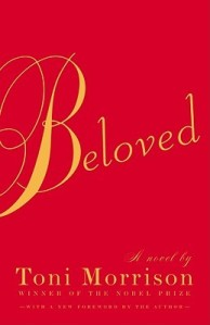 Red book cover of Beloved by Toni Morrison.